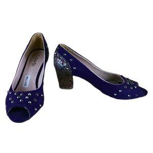 Shoes womens glitter velvet purple studded